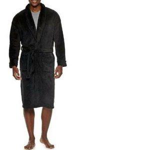 Men's Black Plush Long Sleeve Belted Winter Robe